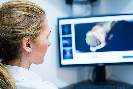 Tierarztpraxis Besserer: Dr. med. vet Katerine Besserer bei der CT-Befundung