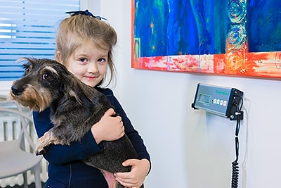 Tierarztpraxis Besserer: Wiegen eines Dackels bei der Aufnahme in der Praxis